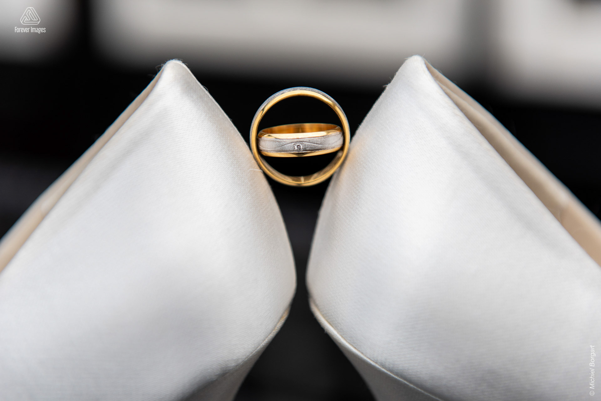 Wedding photo detail her ring in his ring | Wedding Photographer Michiel Borgart - Forever Images.