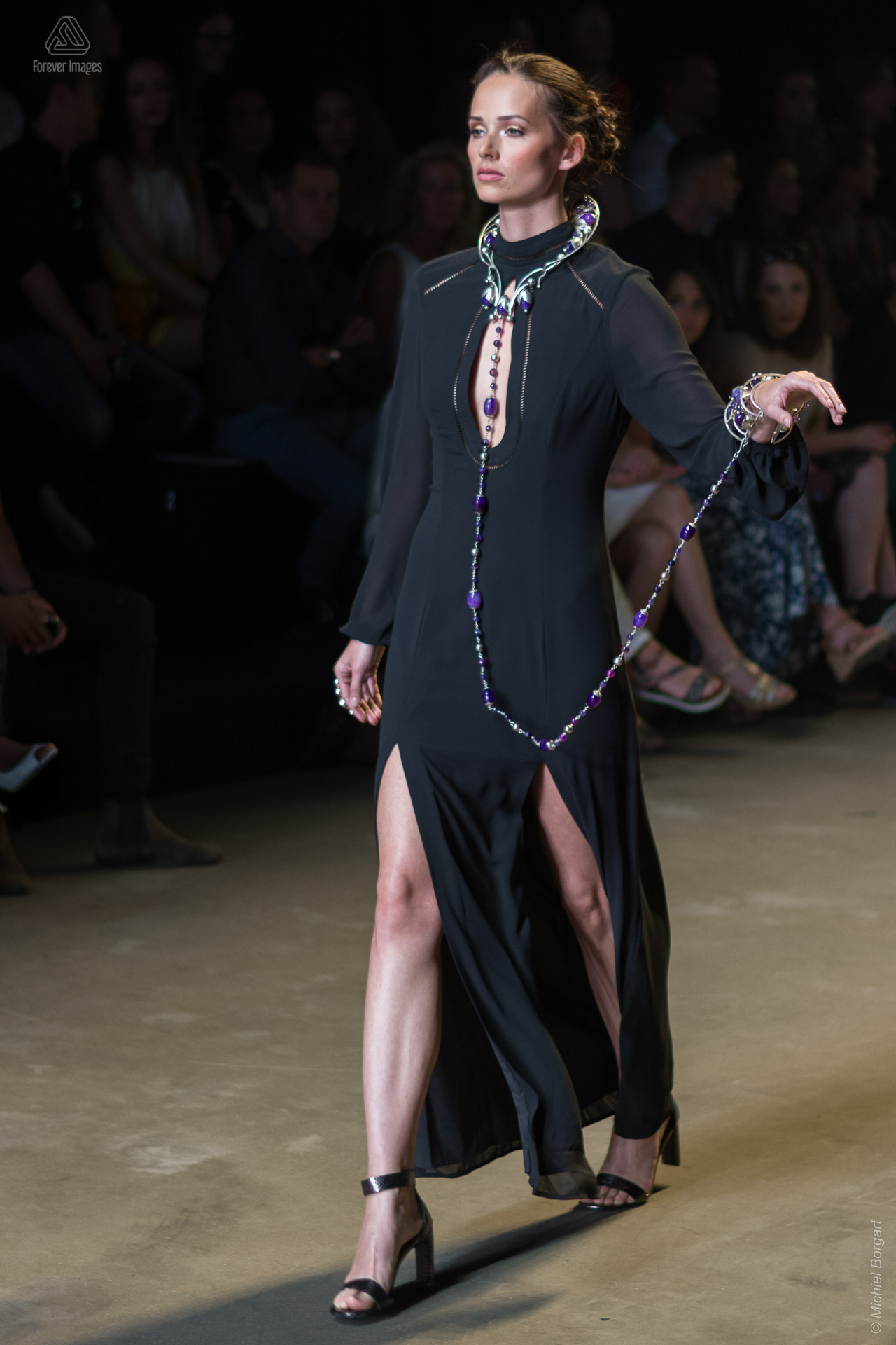 Fashion photo model in black dress with long necklace Amsterdam Fashion Week | Fashion Photographer Michiel Borgart Forever Images.